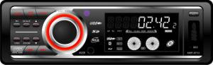 Visualizzazione dell'affissione a cristalli liquidi, del CD ed orologio di Digitahi del giocatore di MP3 dell'automobile