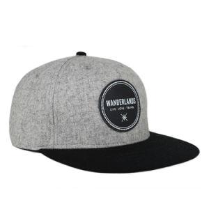 100% Lana Snapback Caps con parche de cuero promocionales Logo