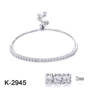 Venda por grosso de 2019 Novas jóias de 925 Sterling Silver Zircónia Cúbicos Pedra Encanto Ajustável bracelete de ténis para Mulheres