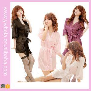 Kleding van de Nachthemden van de Toga van de Nacht van de Robe van de Nachtkleding van het Kant van de Robe van het Satijn van de Lingerie van de Vrouwen van de manier de Sexy Roze Vertrouwelijke