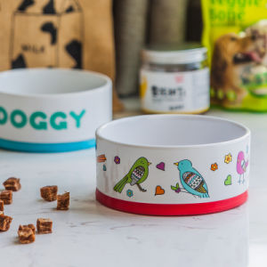 Non-Slip cerâmica mola reto de 6 Polegadas Bird Toste Flower Dog Adesivos tigela tigela de comida para cão tigela de comida para cão de estimação