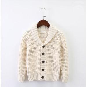 折りえりのポロカラーボタンの開いた子供のカーディガンのセーターは長持ちする