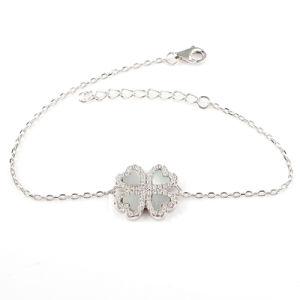 Moderno 925 Sterling Silver Quatro Leaf Clover Bracelete Clássico