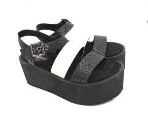 Haut talon dame sandales serpent noir et blanc d'une épaisseur supérieure des chaussures à semelle EVA