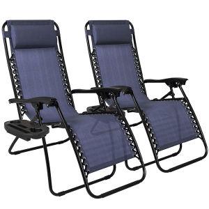 Cama solar portátil plegable Silla de playa Silla Hamaca del Patio de la Gravedad Cero ergonómica silla con portavasos