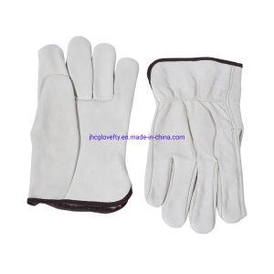 De zachte Beige Handschoenen van het Werk van het Leer van de Zweep van de Kleur