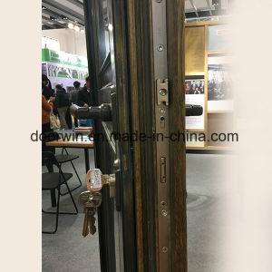 Portello di entrata placcato di rame di legno di quercia, portello di entrata di rame, portello provvisto di cardini del patio