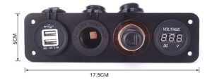 Rojo Voltímetro digital y 2X12V Encendedor USB Plug & Doble Adaptador de Cargador Panel de montaje empotrado de aluminio negro RV alquiler de barco