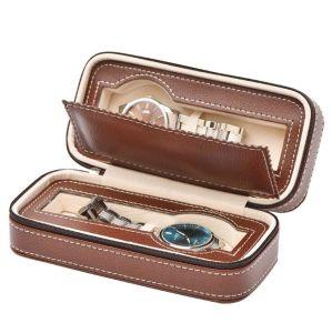Portátil Venta caliente 4 Ranuras de cuero de PU cremallera Ver bolso de cuero de PU Caja Reloj de viaje para 2 Relojes de lujo de almacenamiento, Mens Watch de Verificación de cuero de PU