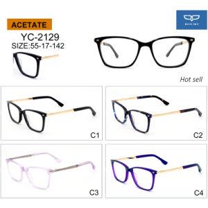De nieuwe Optische Glazen van de Bril van het Frame van de Acetaat van het Ontwerp met direct de Decoratie van de Speld van het Metaal voor de Klaar Goederen van de Levering van de Fabriek van Mensen