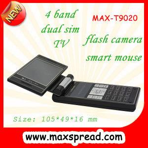 T9020 quad band duplo SIM Telefone celular de TV, touchpad