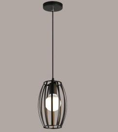 Estilo nórdico Retro Pendente de ferro forjado com luz de forma oval abajur e 1 Luz