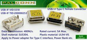 USB2.0 tipo connettore di C, USB-Se Tid no. 200000253, durevolezza: 10000 cicli, trasmissione di dati: 480m/S. Corrente Rated: materiale massimo delle coperture 5A: SUS304