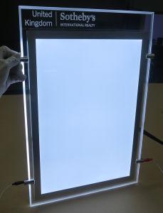 Plafond die de LEIDENE Lichte Doos van de Reclame met het Frame van de Foto van het Kristal hangen en het Etsen van Embleem