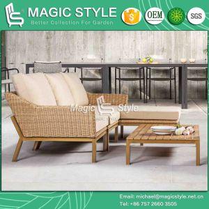 印刷の足の藤のコーナーのソファーの一定の庭のソファーの一定のテラスの家具の枝編み細工品の家具が付いているクッションの屋外のソファーが付いている庭のソファー