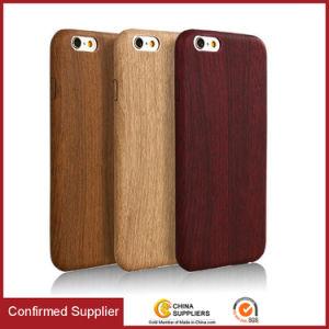 El grano de madera natural ultracompacto PU teléfono móvil para iPhone