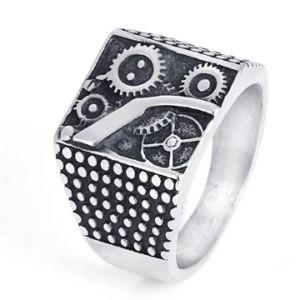 Ring van het Roestvrij staal van Mens Hiphop van de fabriek de Goedkope In het groot Zilveren voor Douane
