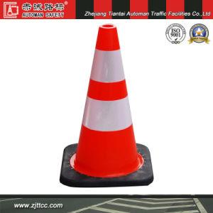 """18 """" Avertissement de sécurité routière en PVC souple cône avec base noire (CC-PV45)"""