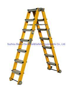 (375LBS) 35kv de Gele Ladder van de Stap van de Glasvezel Draagbare