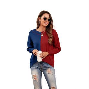 Nueva ronda de la mujer cuello Slim engrosamiento de la coincidencia de color ajustado suéter tejido