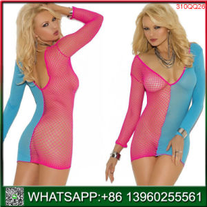 Nouveau design Doll V-Neck Fishnet Mini lingerie sexy