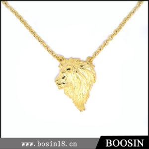 Modo Lifelike Shiny Gold Lion Necklace per Men #16120