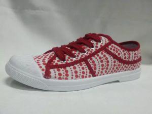Semelle en caoutchouc vulcanisé Plaid rouge chaussures en toile pour les filles les femmes (NU048)