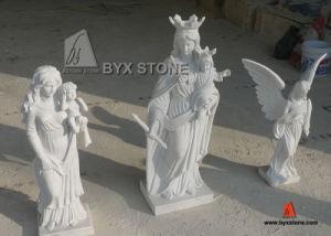 Het witte Marmeren Snijdende Beeldhouwwerk van de Engel voor Begraafplaats/Tuin