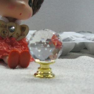 Kristallkugel-Drehknöpfe des neuer Housewarming-Kristallfertigkeit-Geschenk-25mm im Gold
