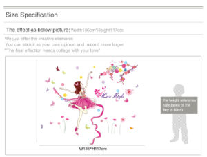 Removable Vinyl Dancing Girl Wall Decals TV Background Wall Sticker