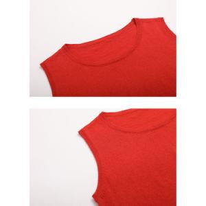 方法細い適合赤い円形カラーティーのベストのセーターの女性