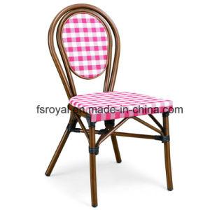 Estrutura de alumínio Textilene olhar de bambu Cadeira de jantar o restaurante ao ar livre do mobiliário