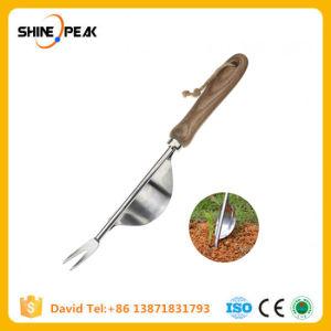 1 Manual de peças de aço inoxidável dos garfos Weeder Pega de madeira Ferramenta monda de jardinagem Jardim transplantio das ferramentas de escavação