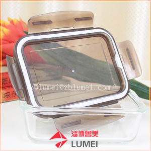 Conjunto de almacenamiento de alimentos de bloqueo de vidrio Contenedor Tapa del recipiente de cocina Box Lunch Microwaveable
