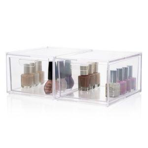 cassetti cosmetici accatastabili dell'organizzatore della gamma di colori di memoria e di trucco di qualità Premium 2-Pack