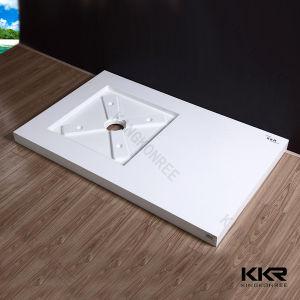 熱い販売の純粋で白い人工的な石造りの反入れるシャワーの皿