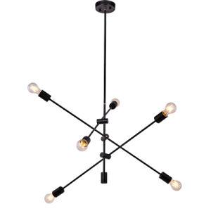 Vintage de 180 grados Sputnik negro colgando de la luz de lámpara colgante con Edison bombillas para cocina