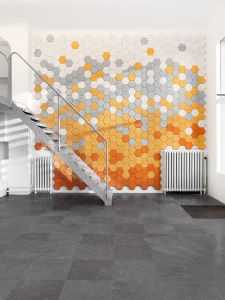 Lana de madera Sound-Absorbing hexagonal el panel de pared con función decorativa