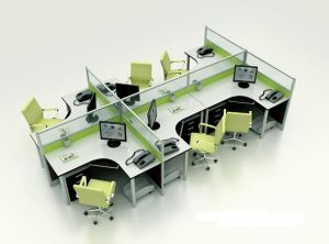 La moderna t de aluminio en forma de abrir la estación de trabajo de la partición para cuatro personas (SZ-WS315)