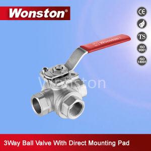 CF8 три способа шаровой клапан с ISO5211 монтажный фланец Pn64
