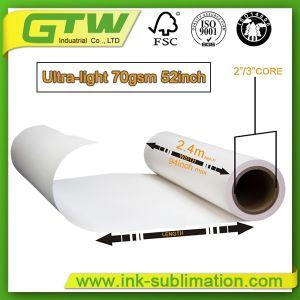 Por sublimação de tinta de alta qualidade 70gsm, Papel para transferência de alta velocidade