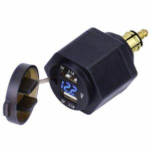 Voltmetro blu del USB dell'adattatore doppio LED del caricatore 4.2A con la spina di Hella di BACCANO di Powerlet per il motociclo