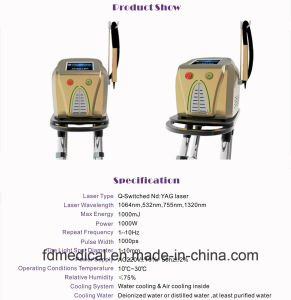 1064nm & 532nm Q-Switched ND. YAG Laser 피코세컨드 귀영나팔 제거 기계