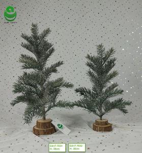albero di Natale artificiale del PE di 0.2-0.4m per la decorazione - base di legno rotonda con ghiaccio