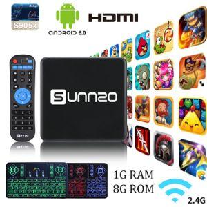 Androider Fernsehapparat-Kasten mit drahtlose Tastatur Amlogic S905X Sunnzo1GB RAM/8GB gesetztem Spitzenkasten ROM-Kodi 17.3