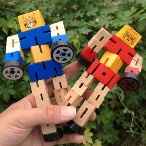Colorido transformável brinquedo robô de madeira