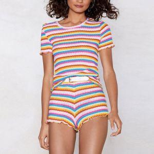 다채로운 줄무늬 높은 허리 경례군악 가장자리 간결