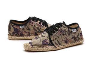 Cómodo tejido de cáñamo hombres zapatos de tacón plano informal