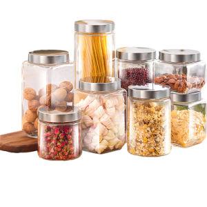 100 % de stockage de la nourriture de verre scellées Jar avec l'acier inoxydable