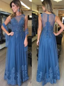 1c766cddb La madre de encaje azul vestido de novia vestidos de noche de fiesta largos  LB1889